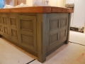 Hand-painted distressed island cabinet. Philip Dowse Interiors