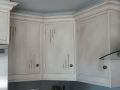 Hand-painted kitchen cabinet. Wash effect. Cleary and Hall